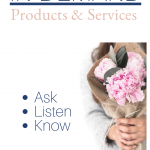 Woman holding bouquet of flowers with the words ask, listen, know
