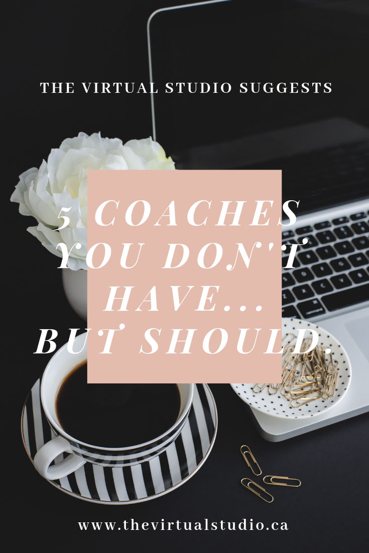 A cup of coffee and a laptop with the words. 5 Coaches You Don't Have But Should