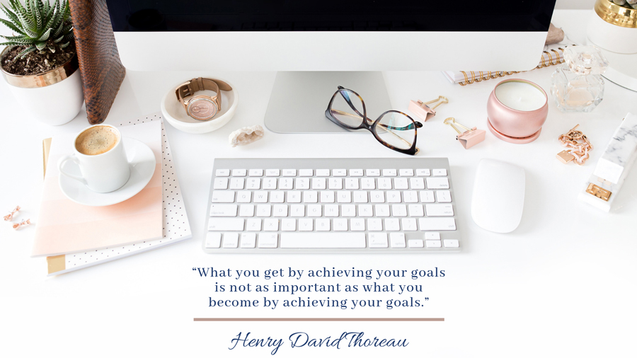 Successful Business Woman's Desk with a cup of espresso and a quote from Henry David Thoreau Starting an Online Business