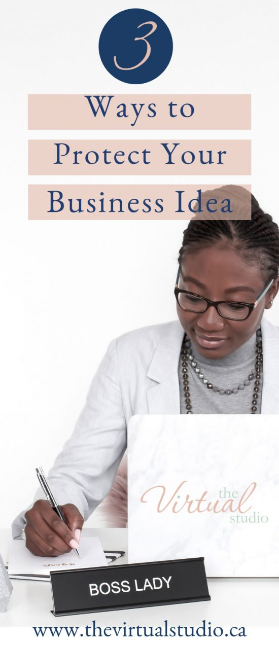 legal protection of your business idea Successful Business Woman at her desk with the desk name plate saying Boss Lady