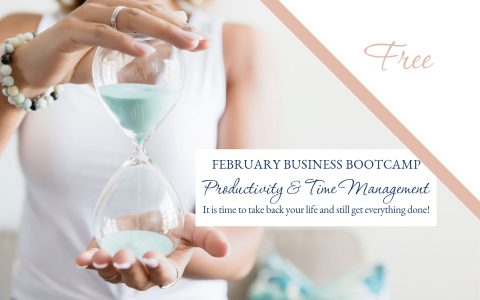 Successful woman holding an hour glass and the words productivity and time management Master the Art of Productivity