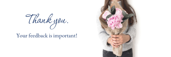 Girl holding bouquet of flowers and the words thank you.