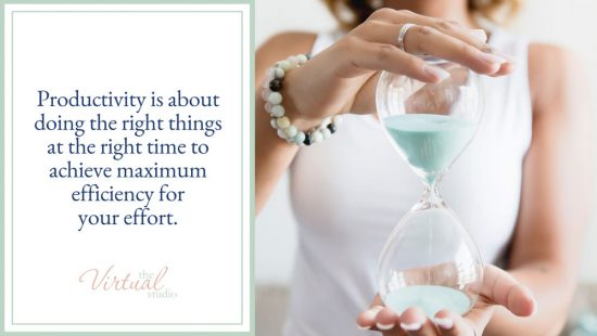 Successful Woman holding hour glass and the words productivity is about doing the right things at the right time to achieve maximum efficiency for your effort. Master the Art of Productivity