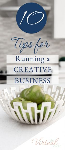 10 Tips for running a creative business. 10 tips for creative business owners written on a white background with a photo of a camera and coffee