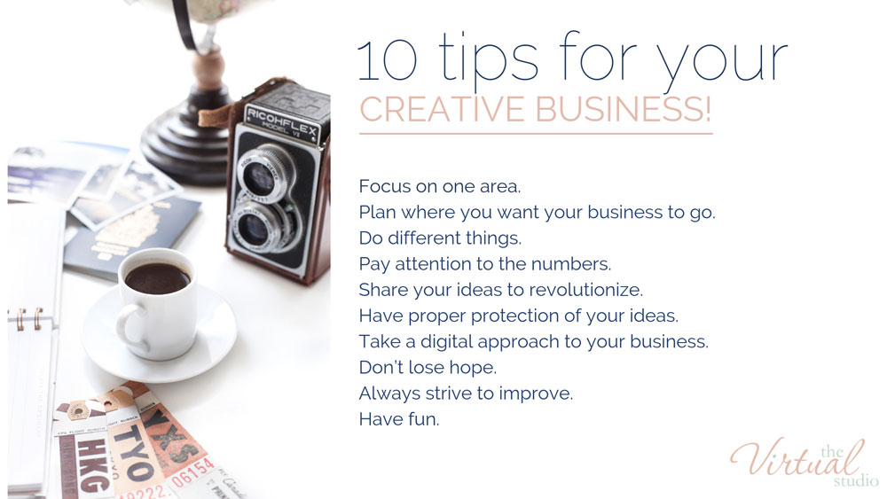 10 tips for creative business owners written on a white background with a photo of a camera and coffee 10 Tips for running a creative business