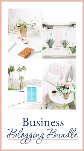 Images of home workspaces with words BUSINESS BLOGGING BUNDLE
