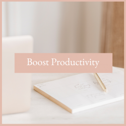 Executive woman's office with her note pad and laptop on her desk 7 ways to boost your productivity. Free Resources