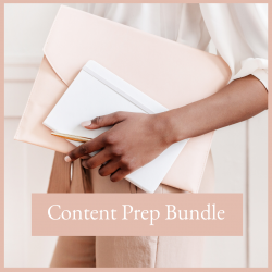 Executive woman holding note books Weekly Content Creation Bundle 4 week free trial free resources