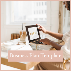 Executive woman working in her office at her desk creating her business plan template free resources