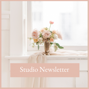 Executive woman's office with a bouquet of flowers on a window sill join the studio newsletter free resrouces