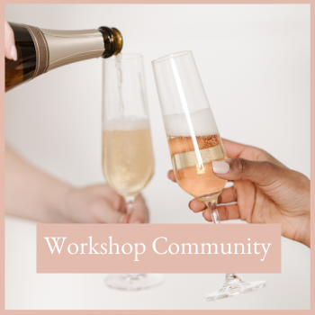Two female executives celebrating the studio workshop community with champagne free rescources