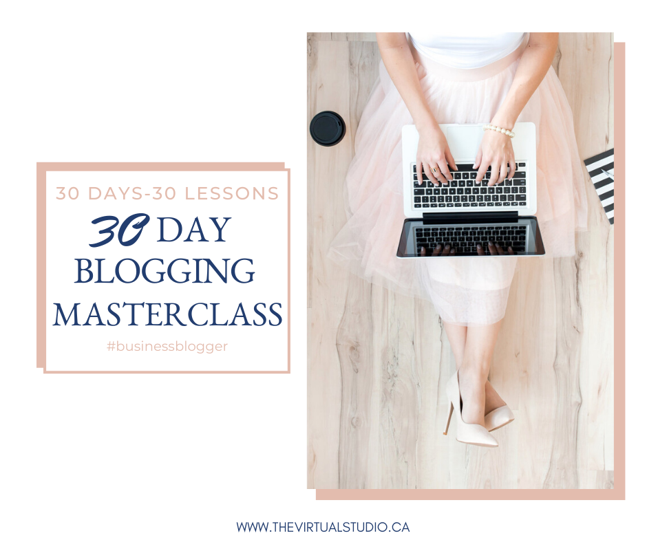 30 blogging for business masterclass, woman working on her laptop with a cup of coffee wearing a pink skirt and high heels, brainstorming blog post ideas