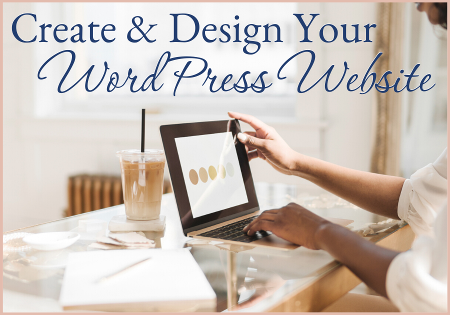 Woman creating a colour board at her desk with an iced latte, create and design your own wordpress website course, Work with me, one on one coaching with Joelene Mills