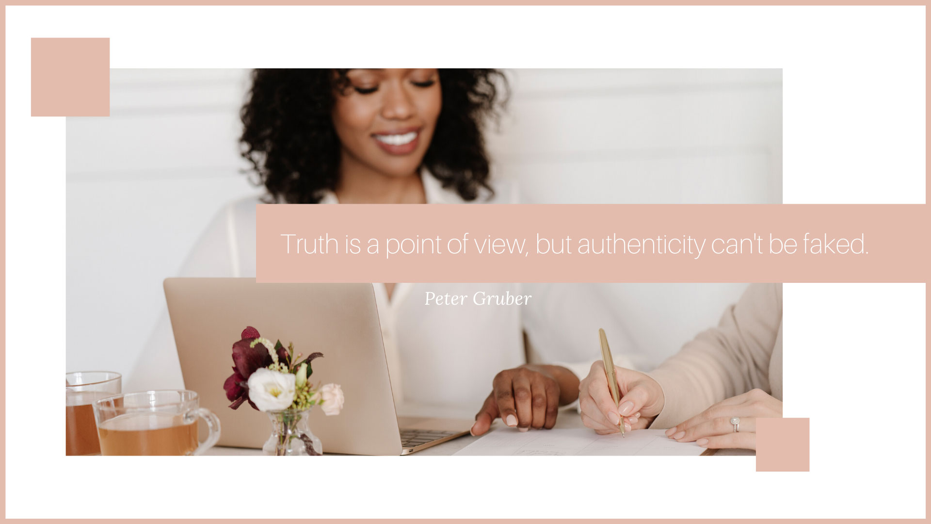 woman working at her desk signing a contract with another woman do your own business branding peter gruber quote