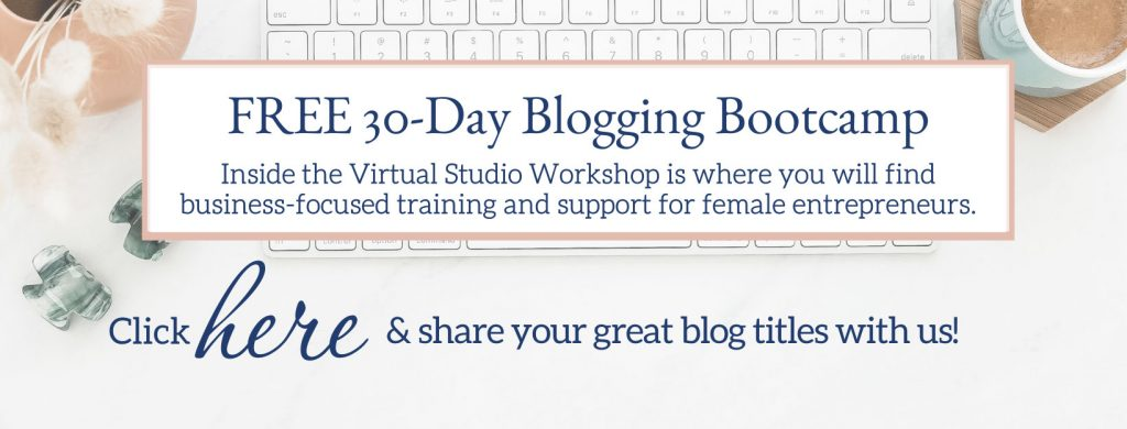 join us written over a desk with a computer for the 30 day blogging bootcamp