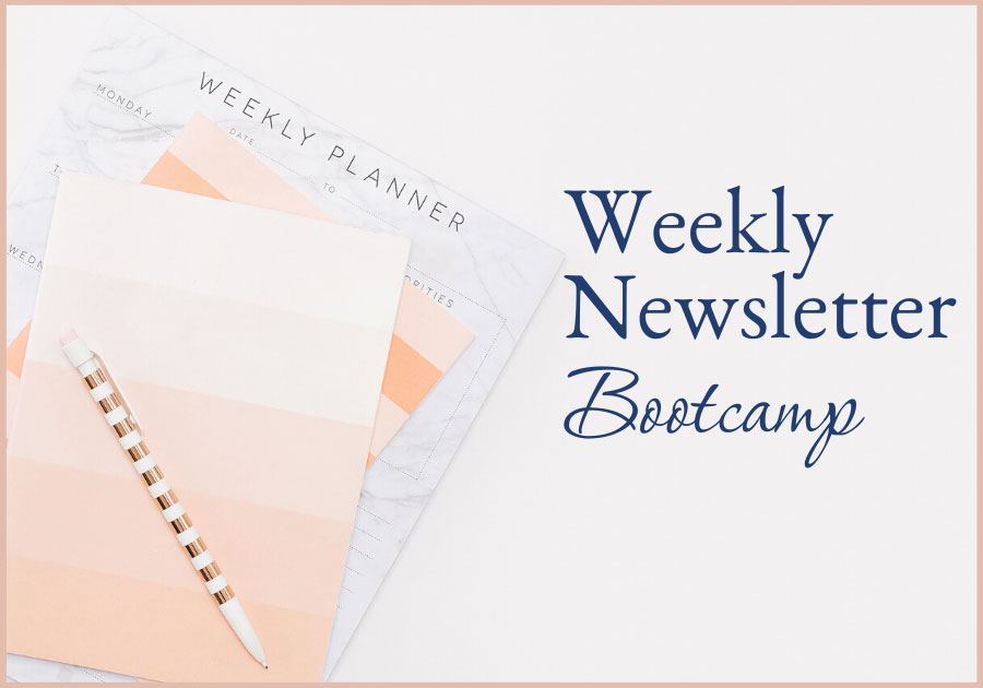 executive woman's desk with weekly planner and pen weekly newsletter bootcamp, Work with me, one on one coaching with Joelene Mills