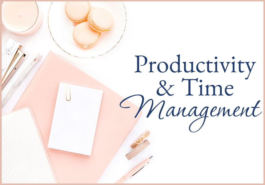 woman's desk with macaroons a notebook, stapler, pen, and washi tape productivity and time management bootcamp business training