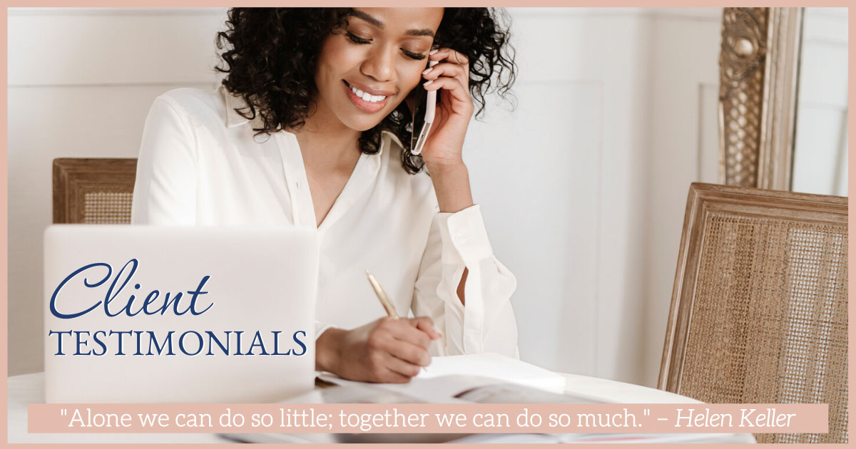 business woman on the phone with a client joelene mills business coach client testimonials