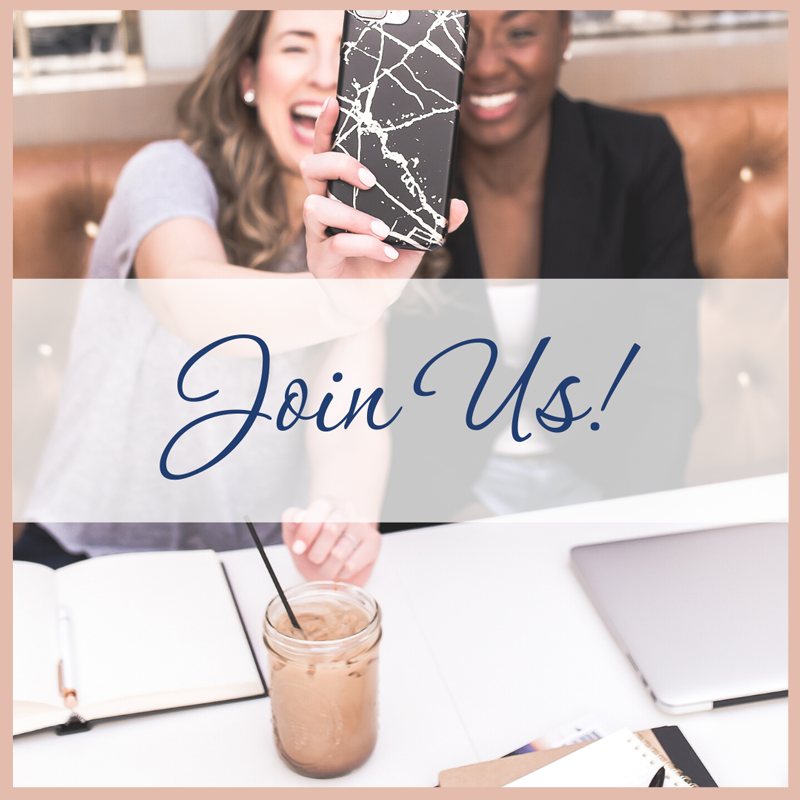 Two women taking a selfie while working in a coffee shop with, join us, Business Startup Success For Women