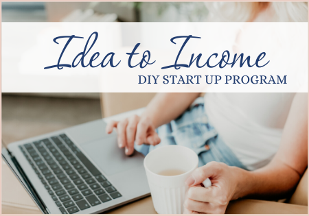 woman working on her laptop with a cup of tea, Idea to Income DIY Start up business program, Work with me, one on one coaching with Joelene Mills