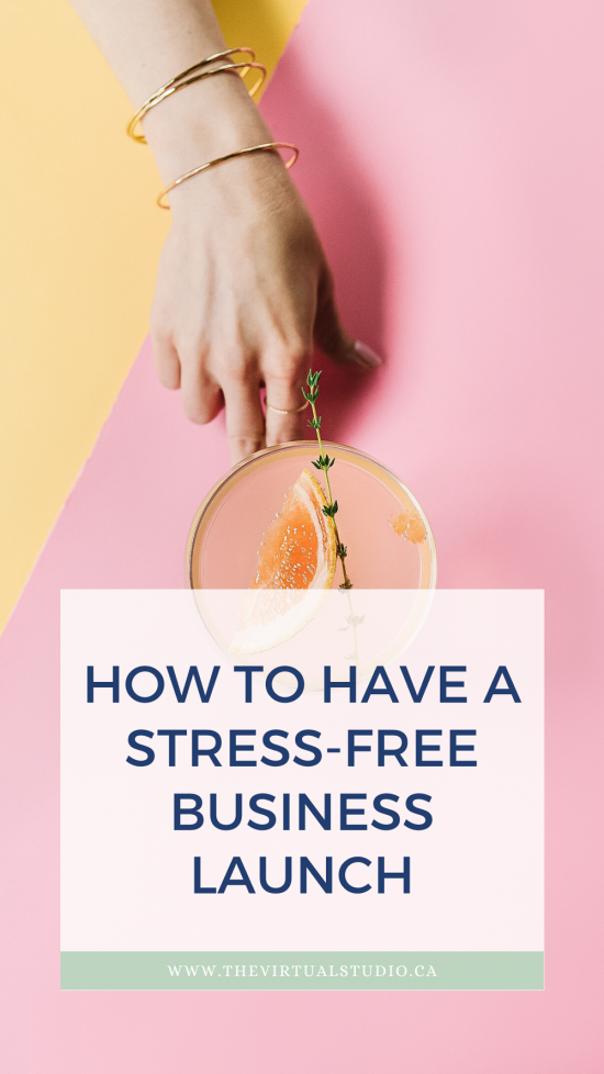 how to have a stress free business launch, woman handing a summer drink on pink background