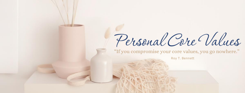 White shelf with vase, knit bag and the words Personal Core Values
