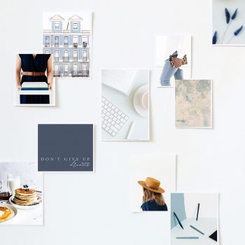 photos on a wall for a business plan template
