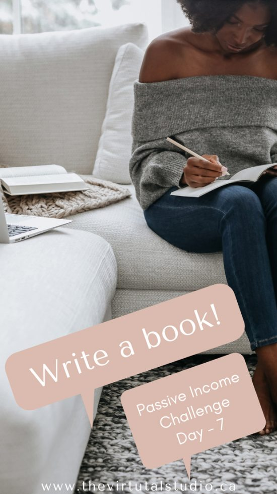 Woman sitting on couch writing in a book with laptop and textbook beside her, writing and publishing books