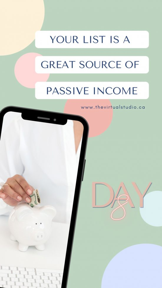 Your List Passive Income Challenge Day 8. your list is a great source of passive income