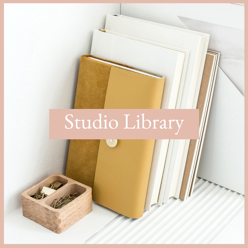 Books on a shelf. The Virtual Studio Library of free business resources.