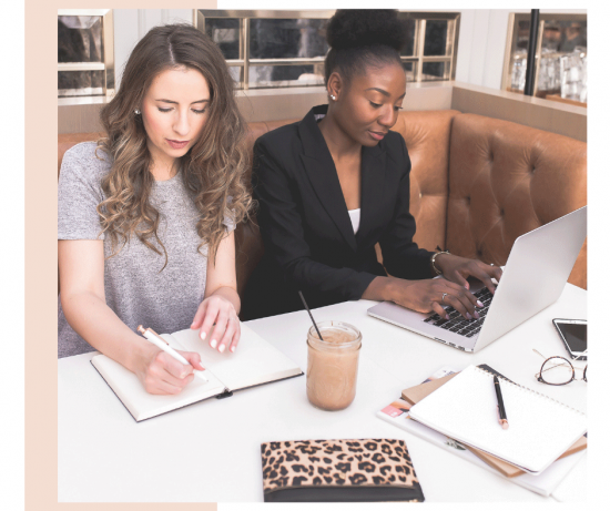 Women working together in the virtual studio mastermind